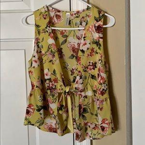 ShopHopes Hope's Boutique Tie Up Floral Top Sz L